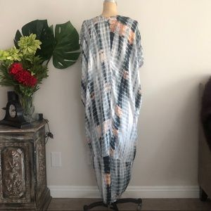 Dresses - Drapey Oversized V Neck Tie Dye Dress